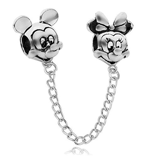 Xingxx accessori silver rose gold mickey minnie butterfly safety chain charms fit original pandora bead bracelet mickey d'argento