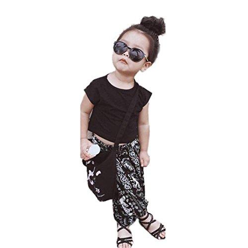 Gaddrt 2Pcs Infant Kid Girl Solid T-shirt Tops+Elephant Long Pants Outfits Clothes Set