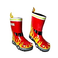 3-D Natural Rubber Wellington Boots - Fire Engine - Children