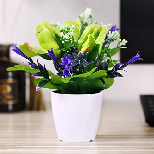 Asvert Kunstpflanze Künstliche Blumen Rose Deko mit Übertopf aus Plastik und Tuch Kunstblumen Wohndeko (1, Grün 2) (Seide Blumen Rosen Gelb)