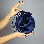 Borse Borsa Pochette donna tela tessuto raso saten blu