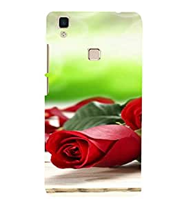 PrintVisa Rose Design 3D Hard Polycarbonate Designer Back Case Cover for Vivo V3