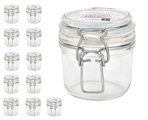 Bormioli Fido Gläser mit Bügelverschluss 12 teilig | Füllmenge 200 ml | Luftdichte Konservierung durch den Gummiring sowie den Drahtbügelverschluss