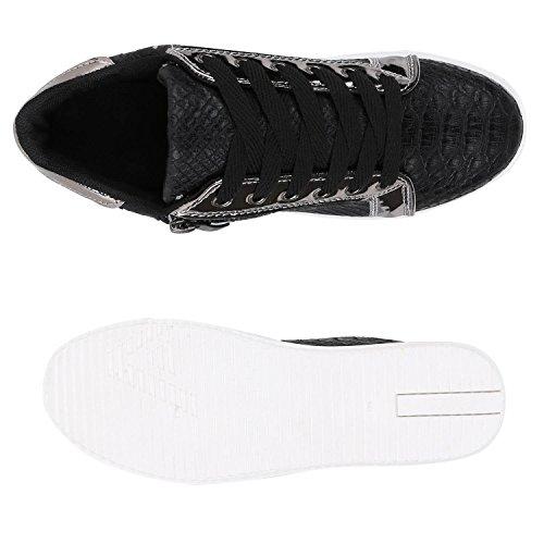 Damen Sneakers Metallic Sneaker Low Zipper Glitzer Schuhe Lack Animal Print Turnschuhe Sportschuhe Leder-Optik Plateau Flats Flandell Schwarz Silber Weiss