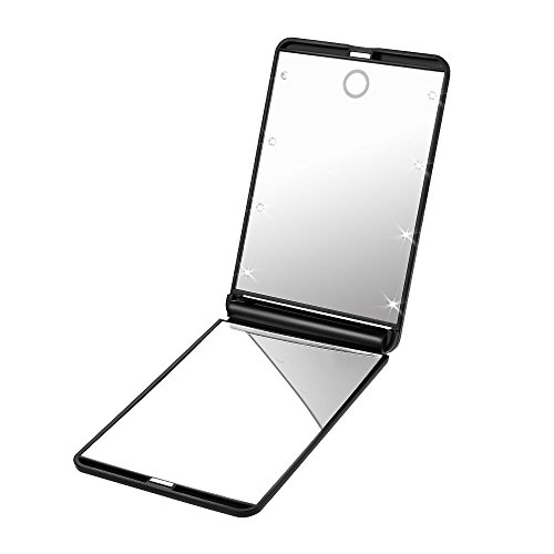Plemo Portátil Espejo con Luz LED para Maquillaje Espejo Comestico de Aumento 2x, Cuadrado, Negro