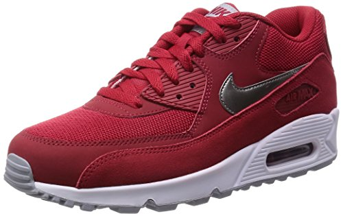 Nike Air Max 90 Essential, Baskets Basses Homme Rouge - Rot (602 GYM RD/MTLC PWTR-WHITE-WLF GRY)