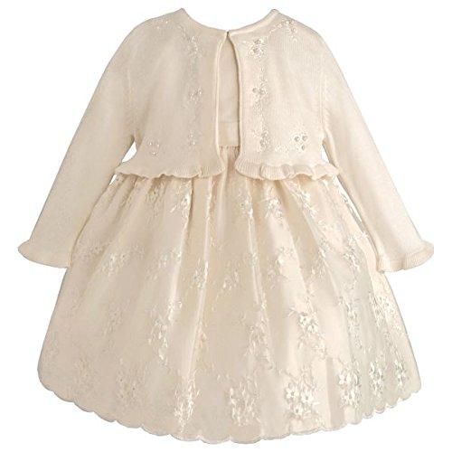 Traum Baby Mädchen Petticoat Kleid inkl. Langarm Strick-Bolero in Ivory~Festlich~Taufkleid Gr. 56,62,68,74,80,86 Größe 74