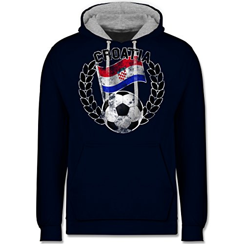 Fußball-WM 2018 - Russland - Croatia Flagge & Fußball Vintage - Kontrast Hoodie Dunkelblau/Grau meliert