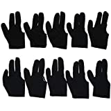 CLUB 147 10x Black 3 Finger Billiards Snooker and Pool Gloves