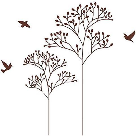 Creativa sencilla pared pegatinas personalizadas de acacia marrón