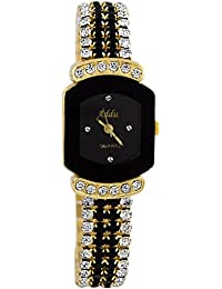 Fashion Analogue Stone Studded Belt Black Square Dial Watch for Women and Girls - GRPWW5