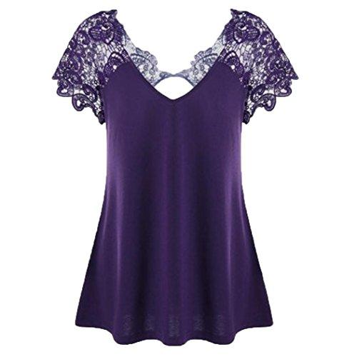MRULIC Damen Fashion V-Ausschnitt Plus Größe Spitze Kurzarm Trim Cutwork T-Shirt Tops Geschenk Zum Muttertag(Lila,EU-38/CN-XL)