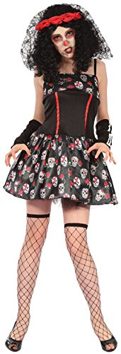 Dead Corpse Kostüm Bride - Ladies Sexy Sugar Skull Mexican Day of The Dead Corpse Bride Halloween Horror Carnival Fancy Dress Costume Outfit 10-14
