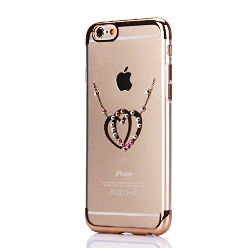 iPhone 6S Tpu Handyhülle,iPhone 6 Silikon hülle,JAWSEU Kreative Gradient Color 360°Schutz Durchsichtig Weich Gel Ultradünn Case Etui Transparent Clear Slim Fit Flexibel Rubber Fall Tasche Schutzhülle  Gold,Liebe Herz