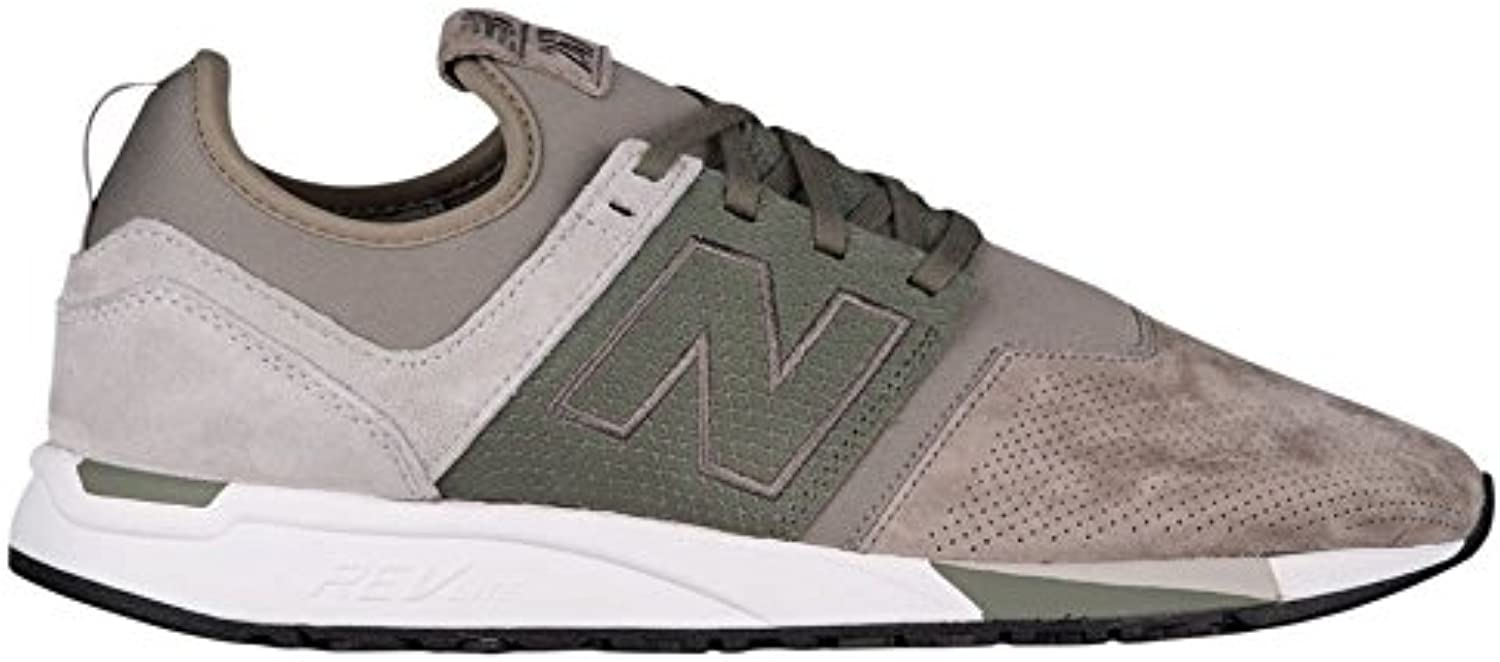 New Balance Grey & Green MRL247 Suede Trainers