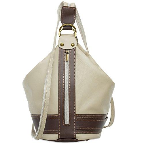 CASPAR TL721 2 in 1 Rucksack Handtasche Schultertasche Daypack aus weichem Nappa Leder, Farbe:beige;Größe:One Size