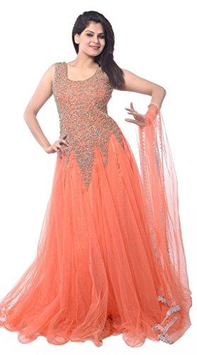 Janasya Women's Semi Stiched Peach Net Dress