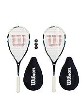 Wilson Pro Competencia Raquetas Squash + Funda + 3 Pelotas De Squash-2 Piezas - Headsize - 471cm2 - Balance - cabezal ligero - Estampado cuerda- 14 x 19 - El juego contiene 2 raquetas Wilson Pro Comp de squash y un paquete con 3 pelotas
