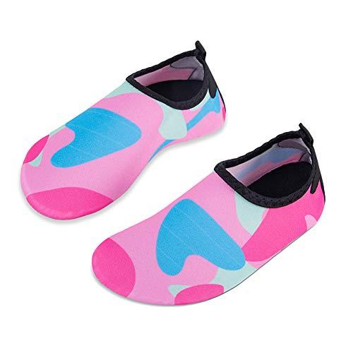 a56e46c8603017 HMIYA Kinder Badeschuhe Wasserschuhe Strandschuhe Schwimmschuhe Aquaschuhe  Surfschuhe Barfuss Schuh für Jungen Mädchen Kleinkind Beach Pool(Rosa 24 25)