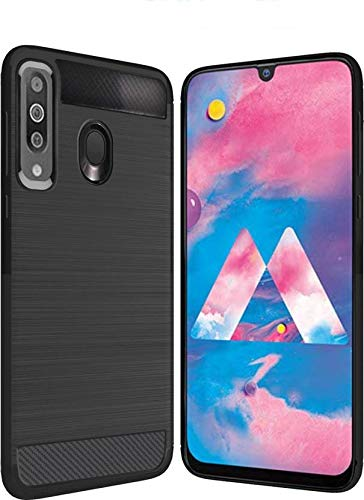 Bracevor Back Cover Case for Samsung Galaxy M30 Carbon Fiber Flexible Shockproof TPU Rugged Armor Brushed Texture – Black