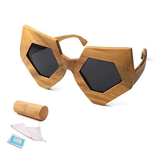 CWYPB DIY Bamboo-Sonnenbrillen, Outdoor Irregulären Sunshade Gläser Women ' S Wooden Frame Goggles Bekleidungszubehör UV400 for Travel Driving Fishing Beach