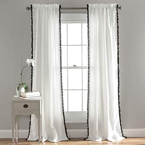 Lush Decor Pom Vorhang, strukturiert, einfarbig, Shabby-Chic-Stil,