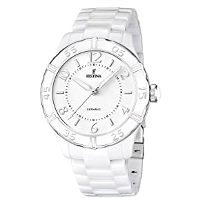Festina F16621/1 - Reloj analógico de cuarzo para mujer con correa de cerámica, color blanco de f16621-1