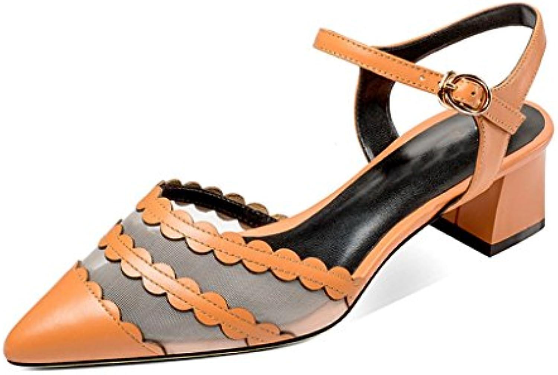 JIANXIN Baotou Sandals donna Summer Medium Scarfs Word Buttons Thick Heel Leather Tips Indietro Scarpe vuote (...   una vasta gamma di prodotti    Uomini/Donne Scarpa