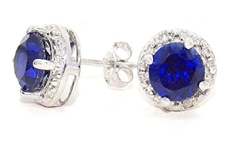 2 Ct Created Blue Sapphire & Diamond Round Stud Earrings 14Kt White Gold & Sterling Silver