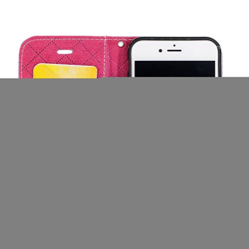 Funda iPhone 8,Funda iPhone 7,TOUCASA® PU Cuero Billetera Ranuras para Tarjetas y Billetera TPU Silicona Case Interna Suave Diseño de Patrón de amor del corazón Diseño de líneas a rayas y cuadros nueva llegada Magnético Función Delgado Funda para Apple iPhone 8/iPhone 7-Color Púrpura