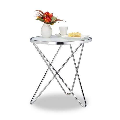 Relaxdays Beistelltisch Glas, Medium, Chrom, Milchglas, Couchtisch, Kaffeetisch, Stahl, HBT: 10 x 86 x 62 cm, silber -