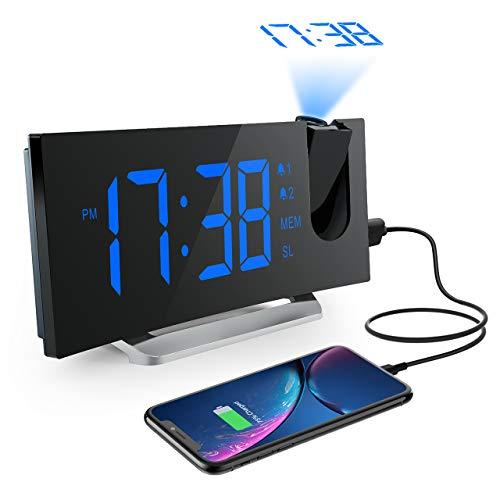 Mpow FM Radio Reloj Despertador con Proyector de Alarma Dual con 4 Sonidos, 3 Tonos, 5 Brillos, Pantalla LED 5', Puerto USB, 12/24 horas, Snooze, Azul