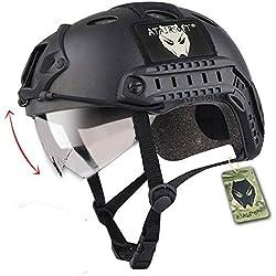 Emerson Casque Fast PJ de Type SWAT avec Lunettes de Protection pour Combat rapproché/tir/Airsoft/Paintball Noir