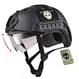ATAirsoft SWAT Combat PJ Type Army Military Paintball Tactical Fast BLACK Helmet with Goggles for Climbing Cycling Shooting
