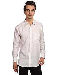 Reevolution Men's Self Design White Linen Shirt (MLFS310338)