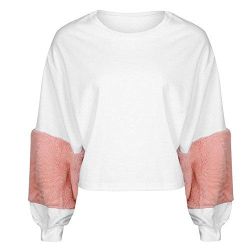 Hirolan_Frau Sweatshirt Patchwork Hoodies Laterne Hülse Pullovers Bluse (S, Weiß)