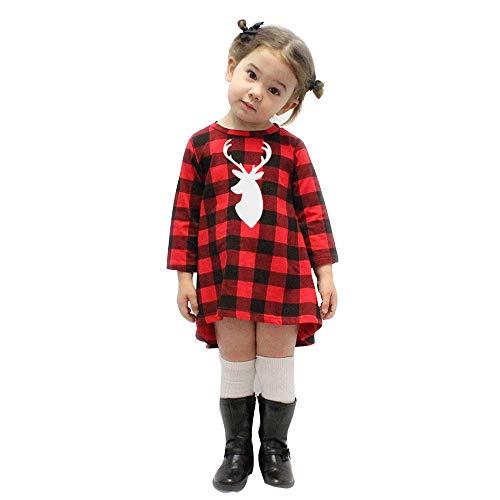 ODJOY-FAN-Bambino Manica Lunga Reticolo Cervi di Natale Vestito-Vestito dal Tutu dell'attrezzatura del Pagliaccetto della neonata con la Principessa Costume Fantasia Fascia