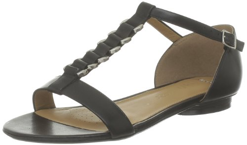 Clarks Studio Beat, Sandali donna, bianco (Noir (Black Leather)), 42