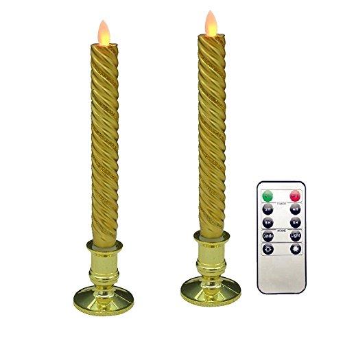 Preisvergleich Produktbild lukloy – Set von 2 Vorschneider Gold Beweglicher Docht Echtwachs LED Kerzen mit 10-key Timer-Fernbedienung Dimmer Funktion,  Dancing Flame 22, 9 cm-für Weihnachten Hochzeit Party Dekoration