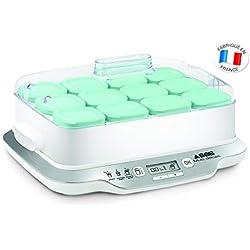 Seb YG6581FR Yaourtière Multi Délices Family 12 Pots Yaourt à Boire Fromage Blanc Frais Crème Dessert 600W Blanc
