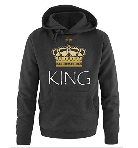 *Comedy Shirts – KING – Herren Hoodie – Schwarz / Weiss-Gold Gr. L*