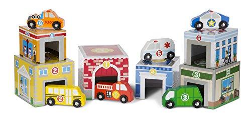Melissa & Doug Würfel zum Schachteln und Sortieren - 6 Gebäude und 6 Fahrzeuge aus Holz (12 Teile) (Melissa Holz-blöcke Und Doug)
