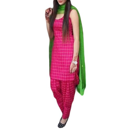 Ecolors Fab Women's Cotton Silk Salwar Suit Dress Material (EC_SalwarSuit_Patiyala_Unstitched) (PINK)