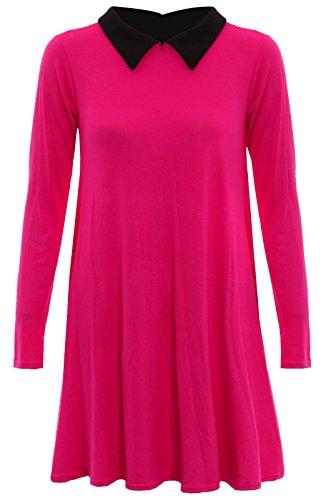 Skater-Kleid mit weißem Kragen, lange Ärmel, Stretch, Swing, erhältlich in den Größen 26-54 Rot - Kirschrot