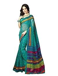IndiWeaves Women Super Net Printed Green Saree - B00VPXCDGA