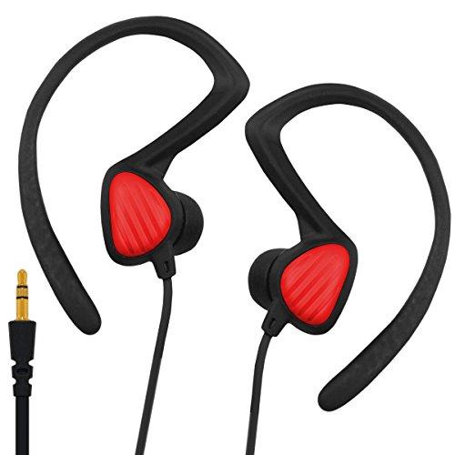 Rot Ohrhörer Wasserresistent und Schweißresistent In-Ear Stereo G-Shield Kopfhörer Für Hi-Fi, Smartphones, Tablets und MP3-Player mit Sport Ear Clip und 3,5mm Audio Klinkenstecker - Rot (In-ear-kopfhörer Mit Ear Clips)