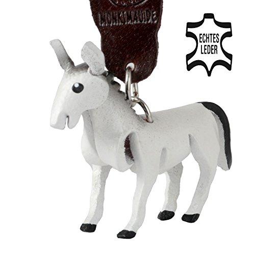 Monkimau Schimmel Pferde Leder Schlüsselanhänger Deko-Figur Charm-s schwarz weiß Pferde-anhänger Sorgenfresser Kinder Mädchen Geschenk-e Stute