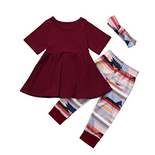 Und Winter Junge Und Mädchen Kinder Sen Abteilung Kleid + Hosen + Haarband drei Anzug (Wein, 120) (Mollige Mädchen Halloween-kostüm Ideen)