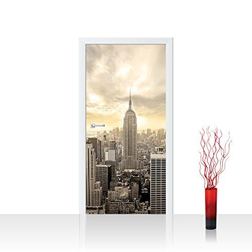 Vlies Türtapete 100x211 cm PREMIUM PLUS Tür Fototapete Türposter Türpanel Foto Tapete Bild - MANHATTAN SKYLINE VIEW - New York USA Skyline Sephia Empire State Building - no. 037