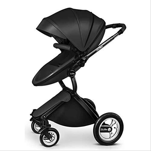 QZX 2 in 1 Kinderwagen Reisesystem Kompakte Einhandfalte mit feststellbaren Rädern und geräumigem 5-Punkt-Sicherheitssystem, Leichtgewichtler,Black